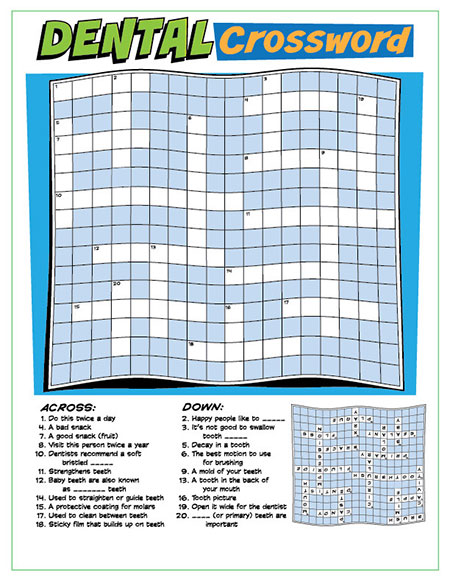 Dental Crossword Puzzle Activity Sheet - Pediatric Dentist in Duncan, SC and Spartanburg County