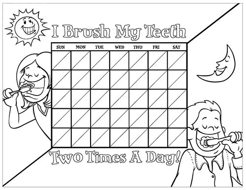 Black and White Brushing Chart for Children - Pediatric Dentist in Duncan, SC and Spartanburg County