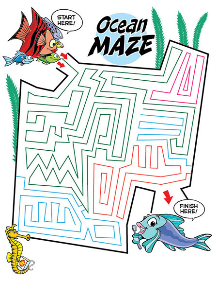 Ocean Maze Activity Sheet - Pediatric Dentist in Duncan, SC and Spartanburg County
