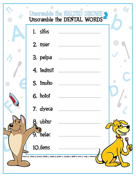 Unscramble the Dental Words Activity Sheet - Pediatric Dentist in Duncan, SC and Spartanburg County