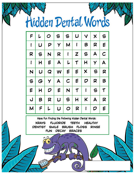 Hidden Dental Words Activity Sheet - Pediatric Dentist in Duncan, SC and Spartanburg County